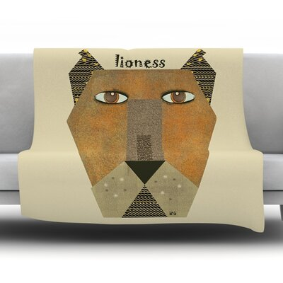 Lioness by Bri Buckley Fleece Throw Blanket Size: 40 L x 40 W