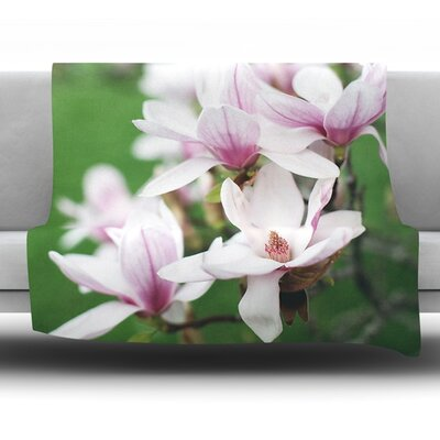 Magnolias by Angie Turner Fleece Throw Blanket Size: 80 L x 60 W