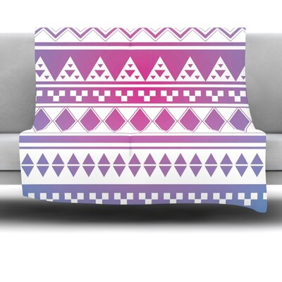 Rainbow Aztec by Belinda Gillies Fleece Throw Blanket Size: 60 x 50