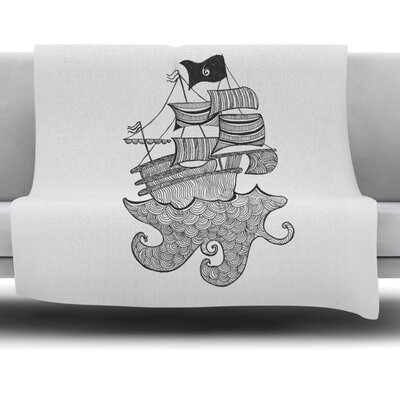 Ships Ahoy by Belinda Gillies Fleece Throw Blanket Size: 80