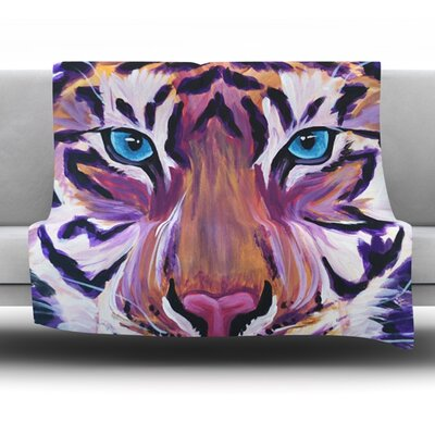 Purple Tiger by Brienne Jepkema Fleece Throw Blanket Size: 60 L x 50 W