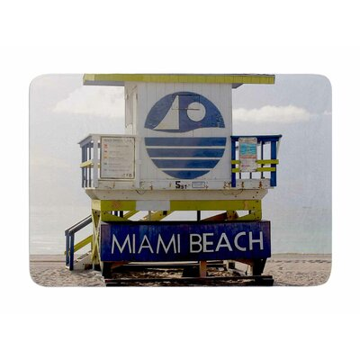 Miami Beach Lifeguard Stand by Philip Brown Memory Foam Bath Mat