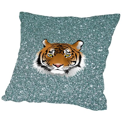 Tiger Cat Sparkly Polyester hrow Pillow Color: Purple, Size: 16 H x 16 W x 2 D