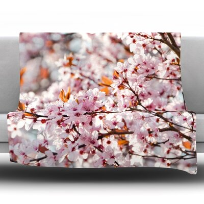 Flowering Plum Tree Fleece Throw Blanket Size: 80 L x 60 W