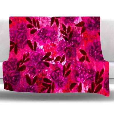 Grunge Flowers IV Fleece Throw Blanket Size: 60 L x 50 W