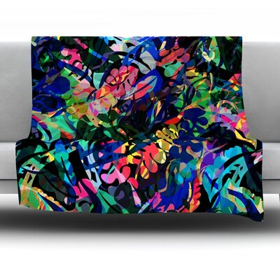 Flora Splash Fleece Throw Blanket Size: 40 L x 30 W