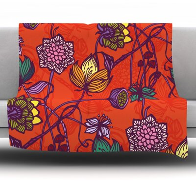 Garden Blooms Fleece Throw Blanket Size: 60