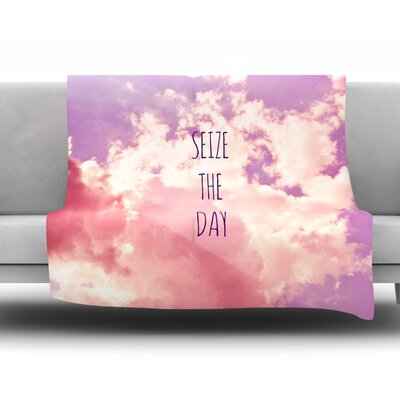 Seize the Day Fleece Throw Blanket Size: 40 L x 30 W