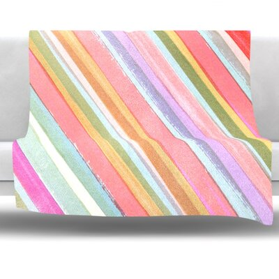 Pastel Stripes Fleece Throw Blanket Size: 80 L x 60 W