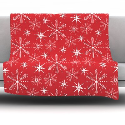 Snowflake Fleece Throw Blanket Size: 40 L x 30 W
