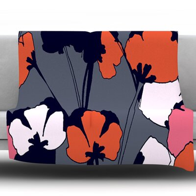 Pop Flowers Fleece Throw Blanket Size: 60 L x 50 W