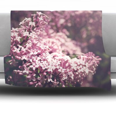 Lilacs Fleece Throw Blanket Size: 90 L x 90 W