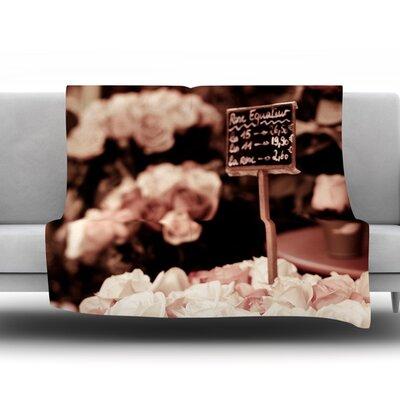 Paris Flower Market by Ann Barnes Fleece Throw Blanket Size: 60 L x 50 W