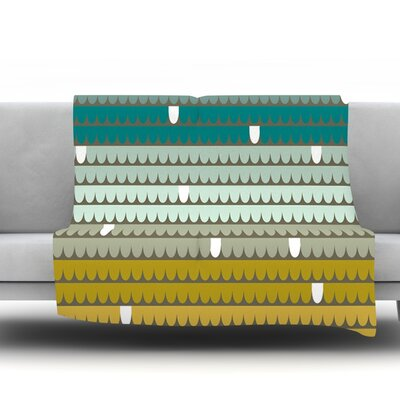 Teal Scallops by Pellerina Design Fleece Throw Blanket Size: 80 x 60