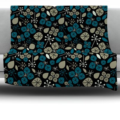 Leaf Scatters Midnight by Allison Beilke Fleece Throw Blanket Size: 40 x 30