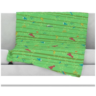 Hello Birdies by Allison Beilke Fleece Throw Blanket Size: 40 x 30