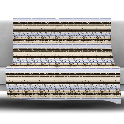 Nautical Breeze Sandy Stripes by Mydeas Fleece Throw Blanket Size: 80 L x 60 W
