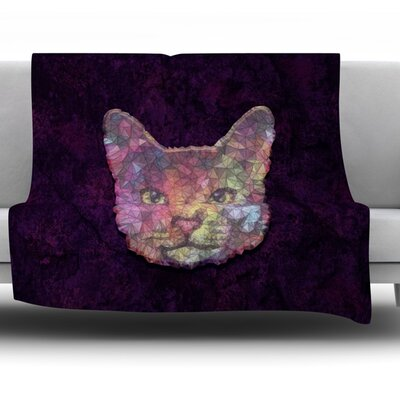 Rainbow Cat by Ancello Fleece Throw Blanket Size: 80 L x 60 W
