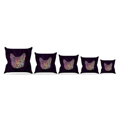 Rainbow Cat by Ancello Throw Pillow Size: 16 x 16