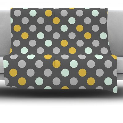 Minty Polka by Pellerina Design Fleece Throw Blanket Size: 60 L x 50 W