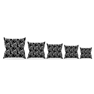 Sweetheart Damask by Mydeas Throw Pillow Size: 16 x 16, Color: Black/Red