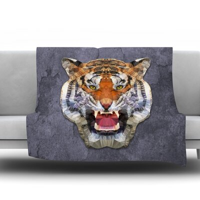 Abstract Tiger by Ancello Fleece Throw Blanket Size: 80 L x 60 W