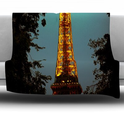 Tour Eiffel by Ann Barnes Fleece Throw Blanket Size: 80 L x 60 W
