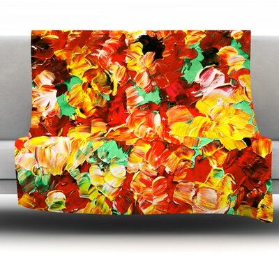 Floral Fantasy II Fleece Throw Blanket Size: 60 L x 50 W