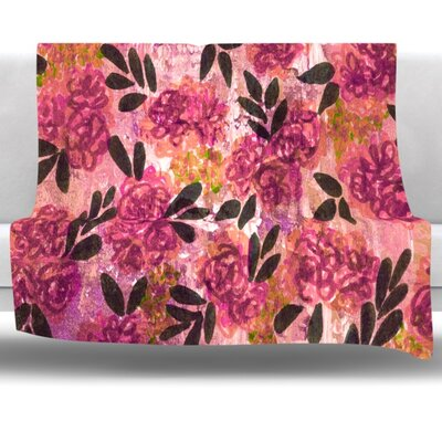 Grunge Flowers II Fleece Throw Blanket Size: 60 L x 50 W