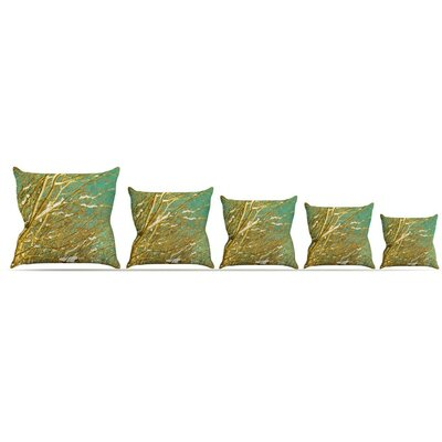 Snow Covered Twigs Throw Pillow Size: 16 H x 16 W x 3 D
