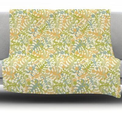 Warm Tropical Leaves Fleece Throw Blanket Size: 80 L x 60 W