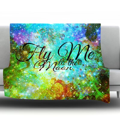 Fly Me to the Moon Fleece Throw Blanket Size: 40 L x 30 W
