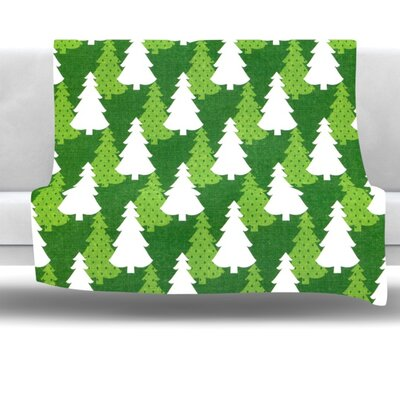 Pine Forest Fleece Throw Blanket Size: 60 L x 50 W