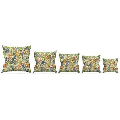Summer Tropical Leaves Throw Pillow Size: 18 H x 18 W x 3 D