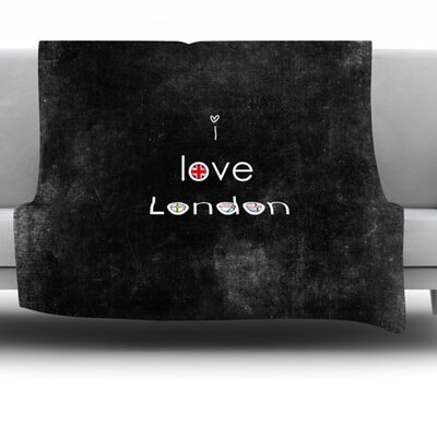 I Love London Fleece Throw Blanket Size: 60 L x 50 W