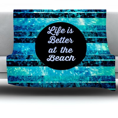Life is Better at the Beach Fleece Throw Blanket Size: 40 L x 30 W
