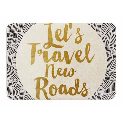 Lets Travel New Roads by Pom Graphic Design Memory Foam Bath Mat