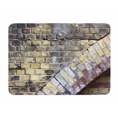 Painted Grunge Brick Wall by Susan Sanders Memory Foam Bath Mat