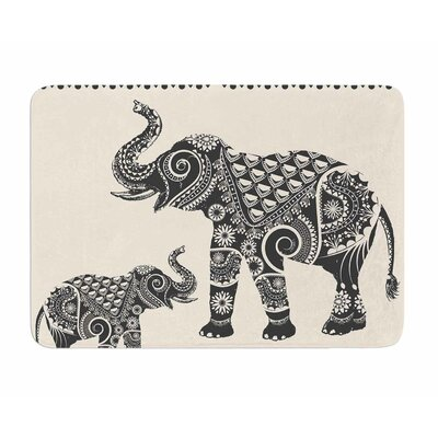 Ornate Indian Elephant-Boho by Famenxt Memory Foam Bath Mat