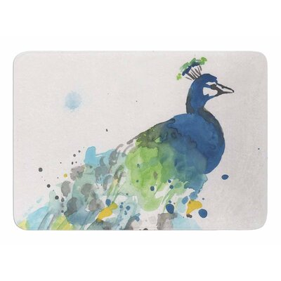 Abstract Watercolor Peacock by Rebekah Bender Memory Foam Bath Mat