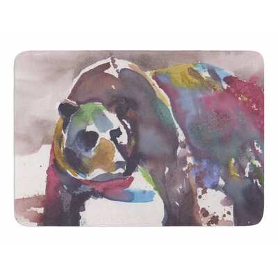 Grizzly Bear Watercolor by Rebekah Bender Memory Foam Bath Mat