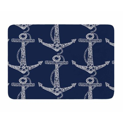Floral Anchors by Amy Reber Memory Foam Bath Mat