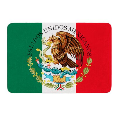 Mexico Flag and Coat of Arms by Bruce Stanfield Memory Foam Bath Mat