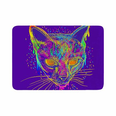 Candy Cat by Frederic Levy-Hadida Memory Foam Bath Mat Color: Purple