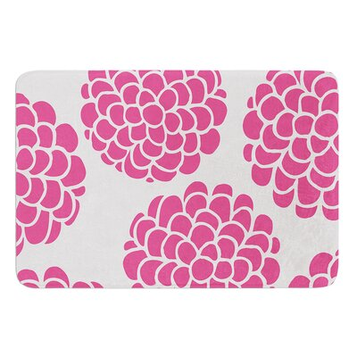 Raspberry Blossoms by Pom Graphic Design Bath Mat