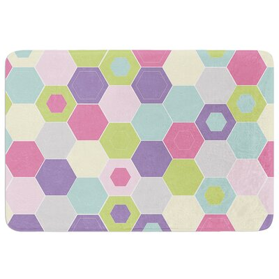 Pale Bee Hex. by Nicole Ketchum Bath Mat