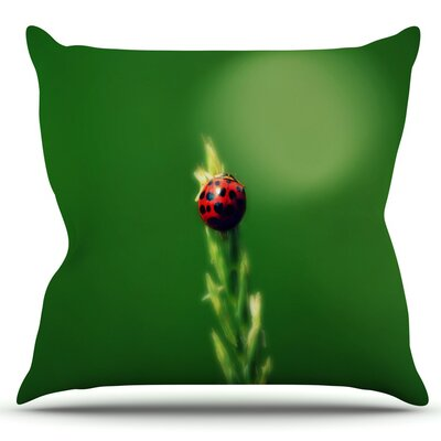 Ladybug Hugs by Robin Dickinson Outdoor Throw Pillow