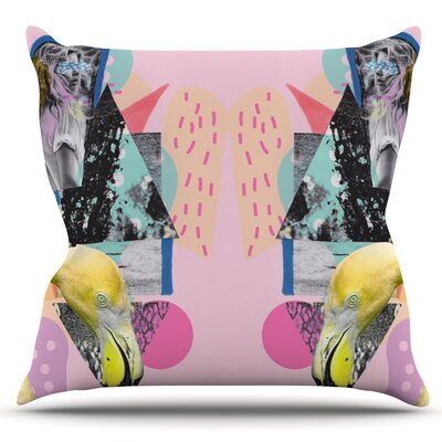 Flamingo Tropical by Vasare Nar Outdoor Throw Pillow