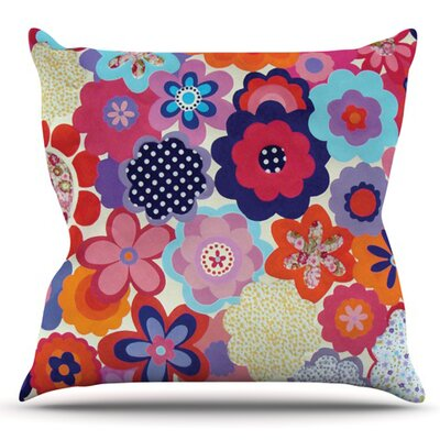 Patchwork Flowers by Louise Machado Outdoor Throw Pillow