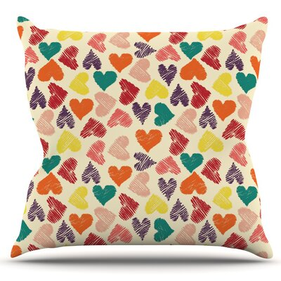 Little Hearts by Louise Machado Outdoor Throw Pillow